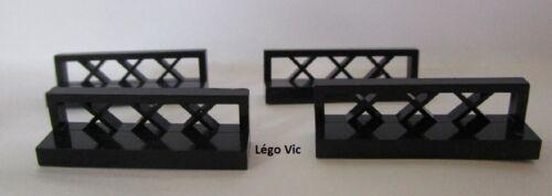 Lego 3633 x4 Barrière Fence 1 x 4 x 1 Black Noir 6285 10040 City Pirate Moc