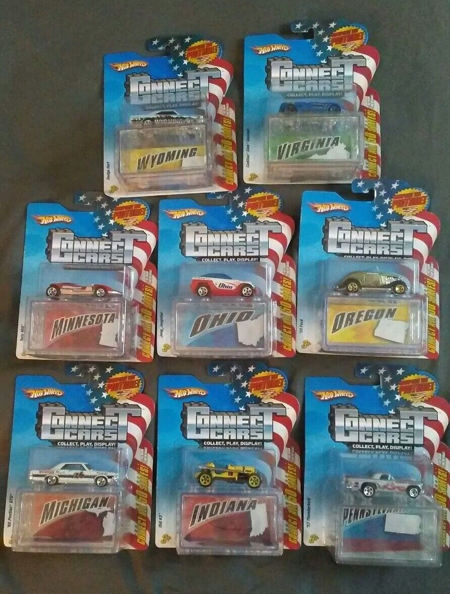 NEW HOT WHEELS CONNECT CARS 50 STATES LOT OF 8 1:64 Ohio Virginia Oregon Wyoming