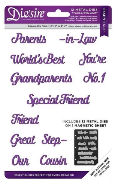Diesire Essentials Metal Dies FAMILY & FRIENDS WORDS Set Crafters Companion