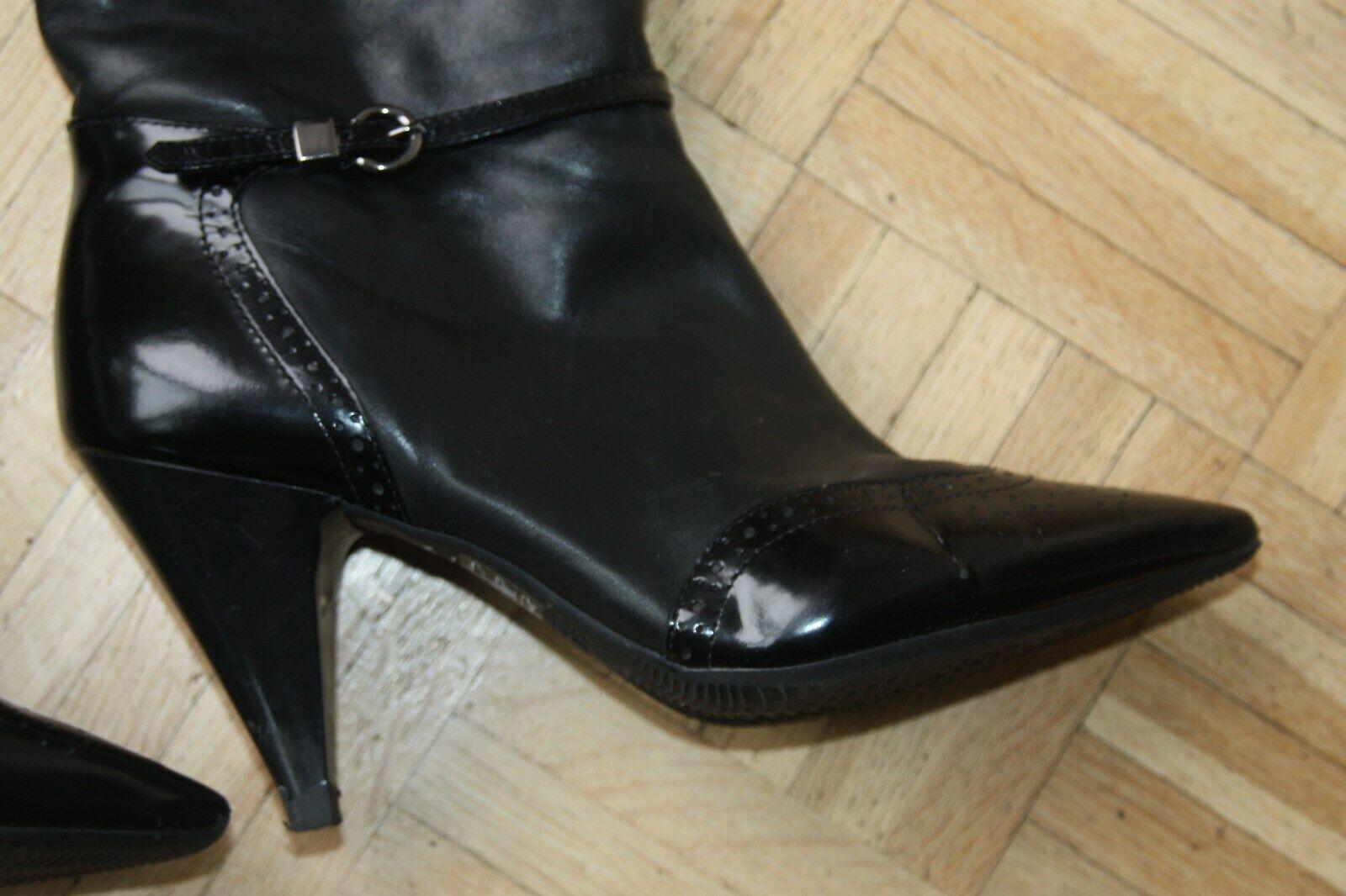Stiefel schwarz - GEOX - Lack und Rindsleder - Budapester 38