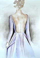 "Elie Saab Lavender Dress Watercolor Poster Fashion Couture Illustration 8""X11"""