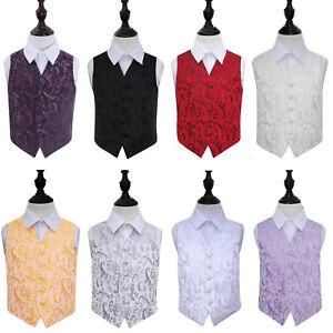 Boys-Waistcoat-Woven-Floral-Formal-Wedding-Page-Boys-Tuxedo-Vest-by-DQT