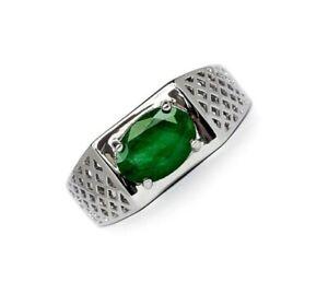 Natural-Emerald-Gemstone-925-Sterling-Silver-Men-039-s-Ring-SR695