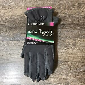 Isotoner-SmarTouch-2-0-Touch-Screen-Compatible-Gloves-Womens-Sz-XL-Charcoal-Gray