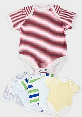 BABY BOYS EX MOTHERCARE 3 PACK SHORT SLEEVE BODYSUITS VESTS DESIGNED BODYSUIT