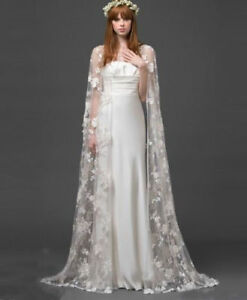 Elegant-Lace-Bolero-Cape-Through-Wraps-Long-Cloak-Bridal-Wedding-Jackets-Top-New