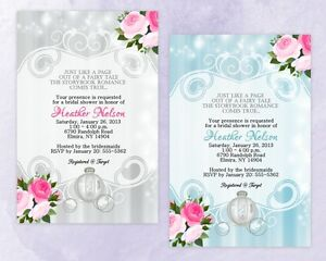 Large 5x7 QUALITY Fairytale Bridal Shower Invitations Wedding Invitation Sparkle