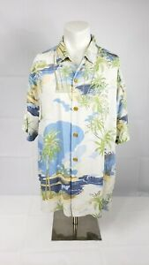 Men-039-s-Tommy-Bahama-size-XL-Off-White-Bule-and-Green-button-up-short-sleeve-shirt