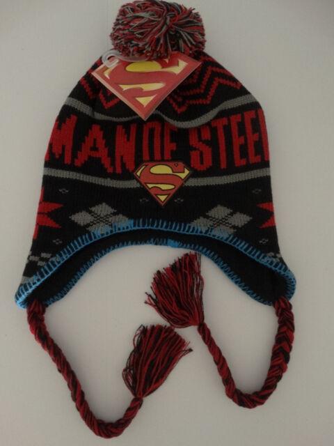 4ad5e366afc Superman Man Of Steel Beanie Laplander Pom Knit Hat Dc Comics Nwt
