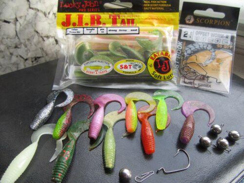 "-Lucky John-Scorpion offset-jig heads /""Cheburashka/""!! 30pcs READY To Fish Set"