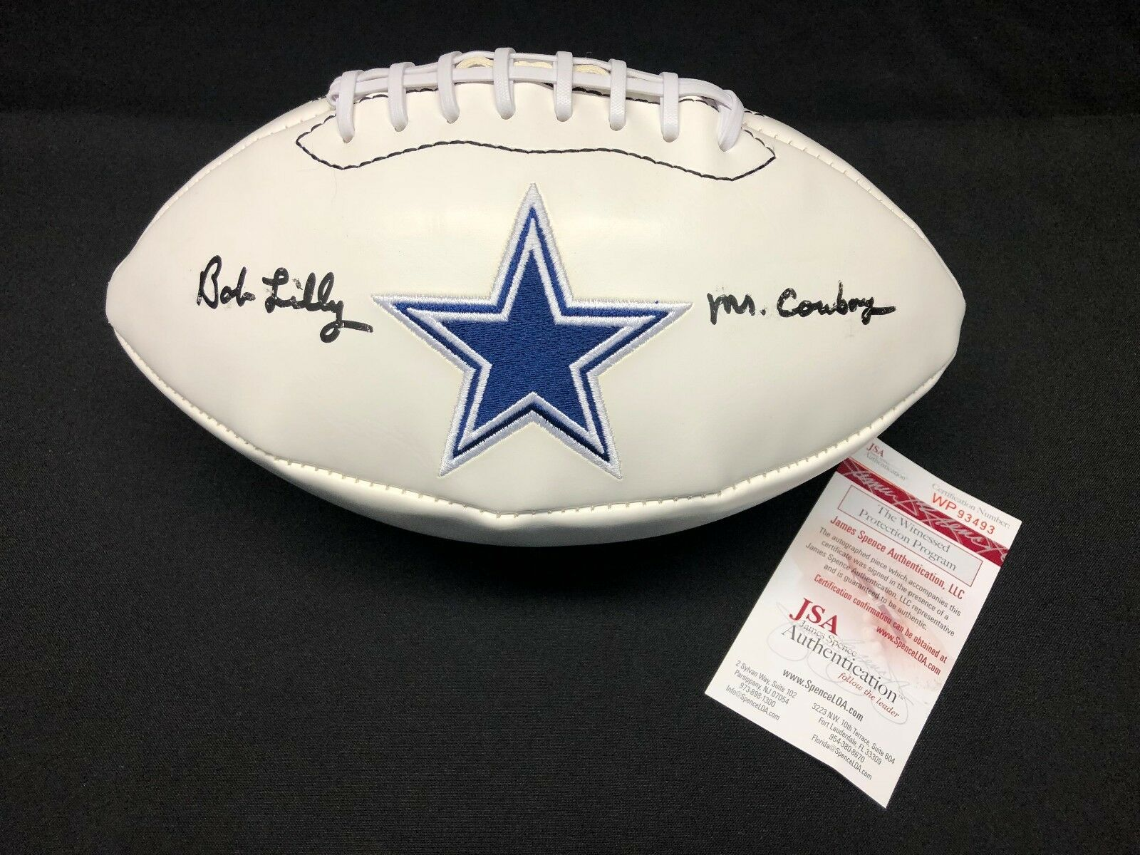 Bob Lilly Signed Dallas Cowboys Logo Football