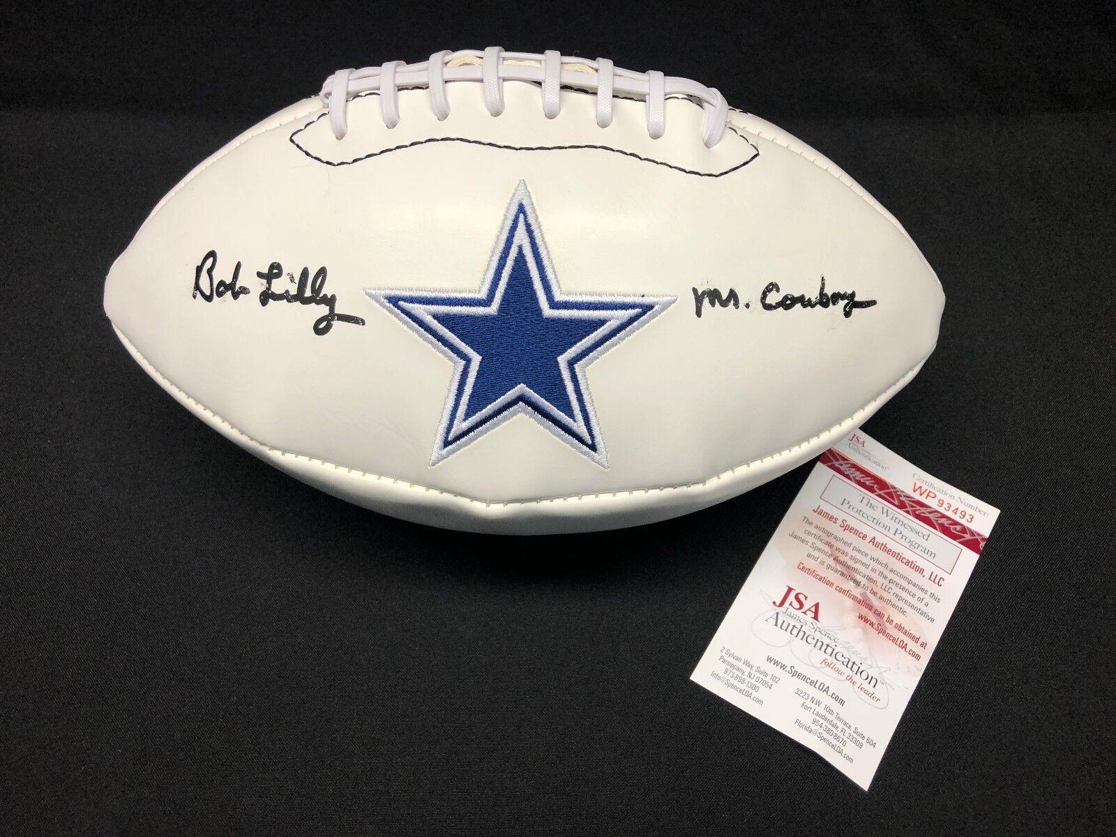 Bob Lilly Signed Dallas Cowboys Logo Football
