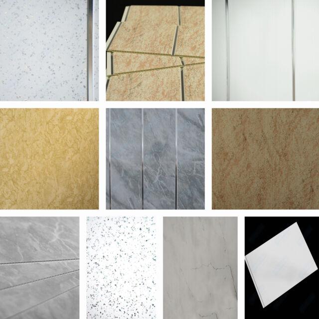 Bathroom PVC Wet Wall Panels In Grey Stone, Marble, Travertine Chrome U0026  Sparkle