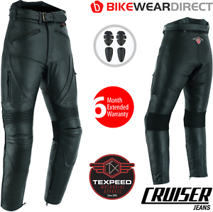 Leather-Motorcycle-Motorbike-Biker-Trousers-Touring-Cruiser-Jeans-With-CE-Armour