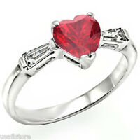 Ruby Red Heart With Crystal White Gold Ep Ladies Ring