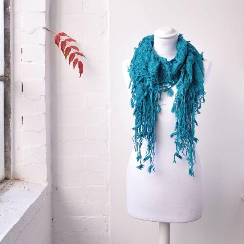 Women Tassels Around Soft Knit Scarf Elasticated Fabric Winter Warm Scarves