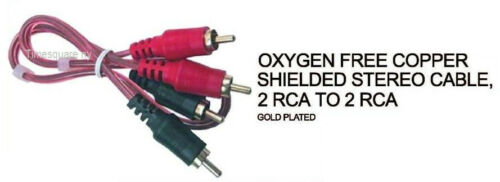 6ft 2 RCA TO 2 RCA CABLE OXYGEN FREE COPPER SHIELDED STEREO CABLE
