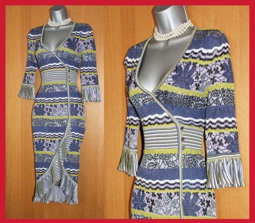 KAREN MILLEN Wrap Stretch Crochet Lace Stripe Knit