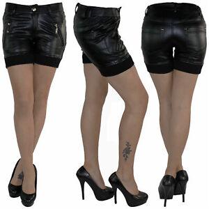 Kunstleder-Hot-Pants-Hotpants-Jeans-Shorts-Kurze-Hose-Capri-Hueft-Stretch-A5322