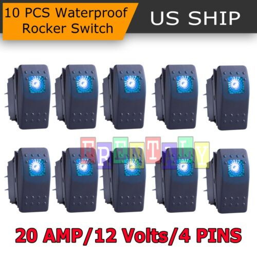 10 X Waterproof Marine Boat Car Rocker Switch 12V SPST ON-OFF 4PIN 4P Blue LED