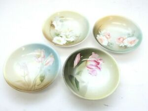 FOUR-Antique-Vintage-RS-GERMANY-Small-Dish-Bowl-Tray-Flower-Floral-Painted-5-034