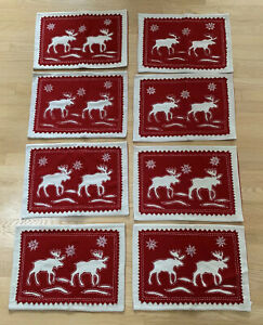 VINTAGE-STYLE-WOOL-Moose-CHRISTMAS-Holiday-WINTER-SET-OF-8-PLACEMATS
