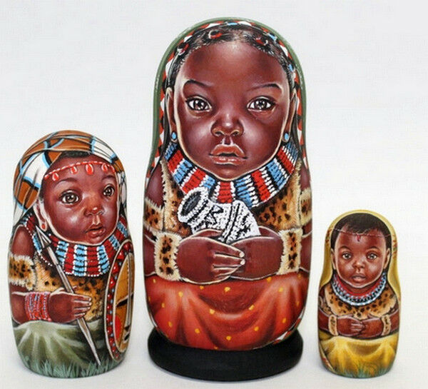 Russian matryoshka doll nesting babushka beauty Afrika handmade exclusive