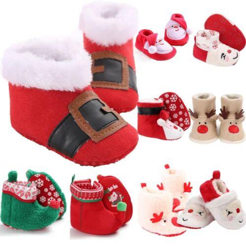 Newborn Kid Baby Boys Girls Christmas Bootie Shoes Winter Indoor Warm Snow Boots