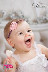 Princess-Dreams Baby HB72 Haarband Taufe rosa Hochzeit Fotografie Festlich