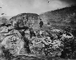 New-8x10-Civil-War-Photo-Casualties-Litter-Devil-039-s-Den-Battle-of-Gettysburg