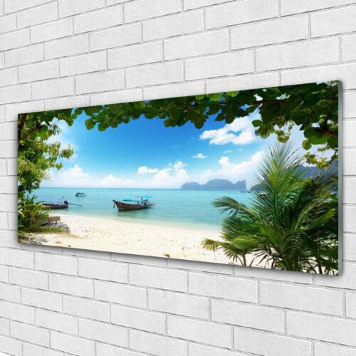 Tulup Leinwand-Bilder Wandbild Canvas Kunstdruck 125x50 Boot Meer Landschaft