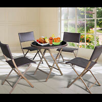 Outdoor Furniture Set Aluminum Folding Dining Table Chairs Wicker Set