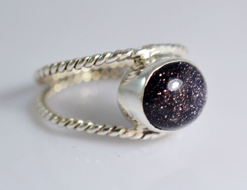 Black Gold Stone Silver Ring 925 Solid Sterling Silver Jewelry Size 3-13 US