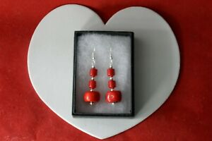 Beautiful Earrings With Red Coral 11.4 Gr.4 Cm. Long + Hooks In Gift Box