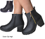 Womans-Chelsea-Ankle-Black-Zip-Grip-Soles-Chunky-Festival-Boots-Flat-High-Heel thumbnail 4