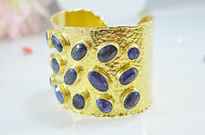 OttomanGems semi precious stone gold bracelet cuff bangle Sapphire Handmade