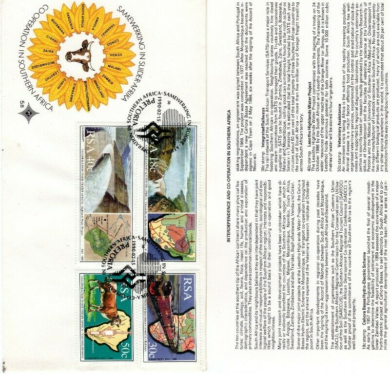 Commemorative Stamp & Envelope Set - Co-operation in Southern Africa 1990