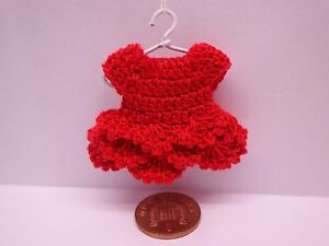 112 Scale Crochet Dress Hanger Dolls House Miniature Clothing Red