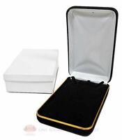 Black Velvet Metal Classic Necklace Jewelry Gift Box 4 1/4w X 7d X 1 5/8h