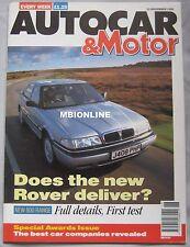AUTOCAR 13/11/1991 featuring Cevrolet Corvette LT1, Honda Beat, Rover, Mercedes