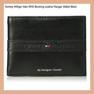 SALE-Tommy-Hilfiger-Men-s-RFID-Blocking-Black-Leather-Ranger-Passcase-Wallet