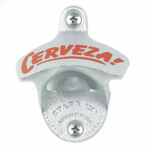 """New /""""Cerveza/"""" Wall Mounted Bottle Opener with Screws Zinc Plated Cast Iron Bar"""