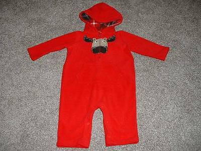 Carter's Baby Boys Red Fleece Moose Hood Outfit Size 6 Months 6M Winter 3-6 mos
