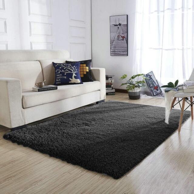 Home Shaggy Fluffy Rugs Bedroom Floor Mat Anti Skid Area Rug