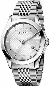 be57b06acae New Gucci G-Timeless Silver Dial Stainless Steel Bracelet YA126401 ...