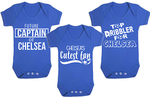 Set of 3 Chelsea Football Set Baby Vests Babygrow Football Baby Vests Gifts