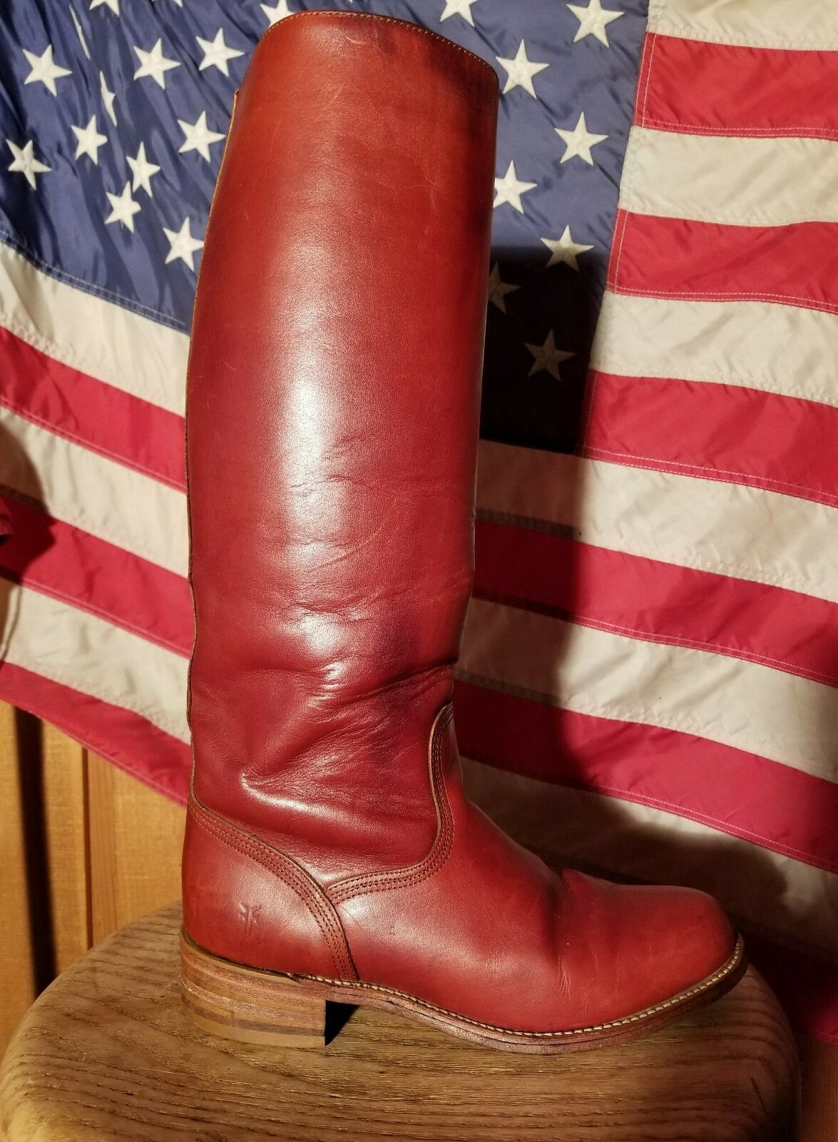 SPORTY TALL VINTAGE FRYE RIDING BOOTS SIZE HOT!!! 7.5 GORGEOUS RUSSET LEATHER HOT!!! SIZE 665e4d