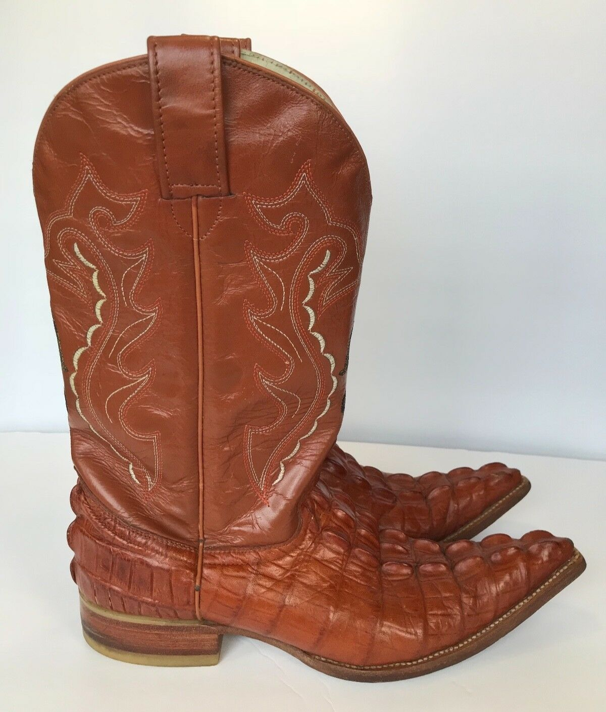 Mundo Vaquero Means Caiman Alligator Tail Print Pointy Cowboy Western Boots Sz 7