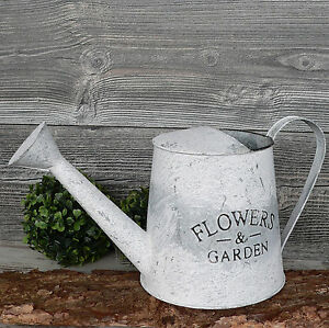 gie kanne metall zink flowers garden landhaus blumentopf deko 33cm shabby ebay. Black Bedroom Furniture Sets. Home Design Ideas