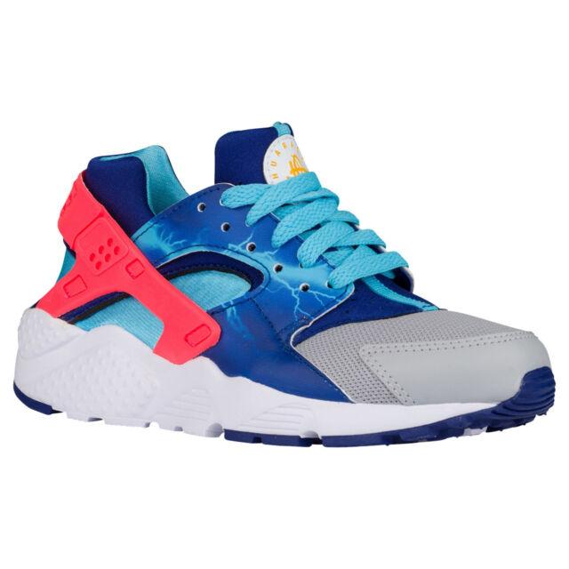 347d329f69ad Nike Huarache Run GS Sz 5y Wolf Grey HYPER Punch Deep Royal Blue Trainer Bo